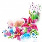 stock photo of floral bouquet  - Watercolor painting floral background - JPG