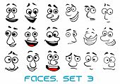 Cartoon doodle faces with different emotions