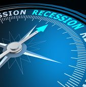 Recession Word On Compass