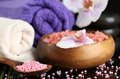 Beautiful spa composition with flowers close up