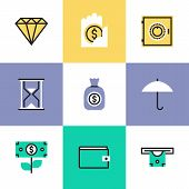 Finance And Protection Pictogram Icons Set