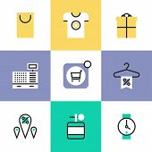Shopping And Retail Pictogram Icons Set