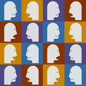 Seamless Pattern. People's Faces With Different Emotions (temperaments).