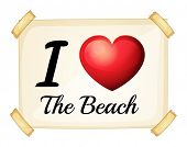 A poster showing the love of the beach on a white background