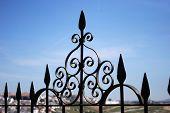 Ornate wrought iron fence.