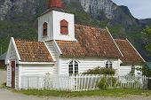 Undredal Stave church exterior in Undredal, Norway.