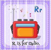 Illustration of a letter R is for radio