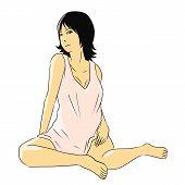 cartoon woman isolate sit sexy
