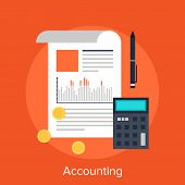 stock photo of accounting  - Vector illustration of accounting flat design concept - JPG