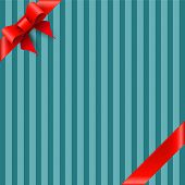 Bow And Ribbon On Blue Striped Background