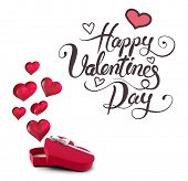 Happy valentines day against hearts flying from box