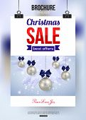Christmas sale shining typographical background with place for text. Broshure design.