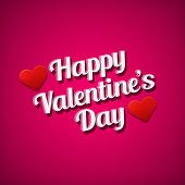 Valentine's Day Greetings Card. White Text Over Pink Background.