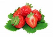 Pile Of Ripe Strawberries With Green Leaves (isolated)