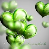 vector holiday illustration of flying bunch of green balloon  hearts. Valentines Day or wedding back