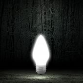 Background image with glowing light bulb. Energy saving