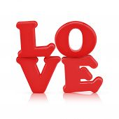Love Sign Made Out Of Alphabet With Clipping Path