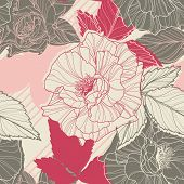 Gentle floral seamless pattern with handdrawn roses