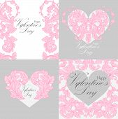 Set of valentines day greeting cards.