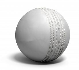 image of cricket shots  - An white leather cricket ball isolated on a white background - JPG