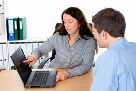 pic of counseling  - business woman and man in counseling interview - JPG