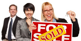 picture of real-estate agent  - Real Estate Team Behind with Blonde Woman in Front Holding Keys and Sold For Sale Real Estate Sign Isolated on a White Background - JPG