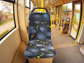 picture of distort  - Empty tram rides in the city with wide angle distortion view - JPG