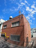 stock photo of distort  - Boiler house with a gas pipe with wide angle distortion view - JPG