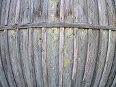picture of fragmentation  - Fragment of an old wooden fence from boards with wide angle distortion view - JPG