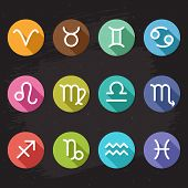 stock photo of pisces horoscope icon  - Vector horoscope icons set white zodiac signs on colorful circles in flat design style with shadows - JPG