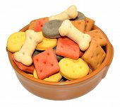 stock photo of biscuits  - Dog biscuit shapes in a ceramic bowl isolated on a white background - JPG
