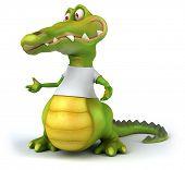 stock photo of crocodiles  - Crocodile with a white tshirt - JPG
