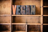 picture of vegan  - The word VEGAN written in vintage wooden letterpress type in a wooden type drawer - JPG