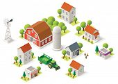 foto of tractor trailer  - Isometric icons representing rural setting - JPG