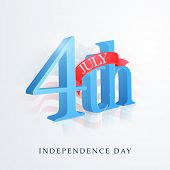 pic of nationalism  - 3D glossy text 4th of July with red ribbon on national flag waves background for American Independence Day celebration - JPG