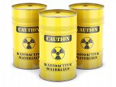 picture of radioactive  - Radioactive waste nuclear barrels yellow sign isolated - JPG