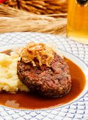 image of mashed potatoes  - beef cutlet with mashed potatoes and cabbage - JPG