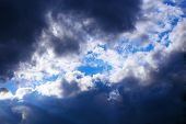 image of cumulus-clouds  - Blue Sky With Stormy dark Clouds  - JPG