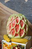 foto of fruit  - Carved fruits arrangement - JPG