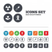 stock photo of breast cancer awareness ribbon  - Medicine icons - JPG
