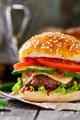 stock photo of beef-burger  - Beef burger with cheese - JPG