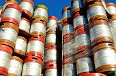 stock photo of keg  - Large stack of colorful aluminum beer kegs outside one of the numerous microbrew beer breweries in Oregon - JPG