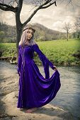 stock photo of fairyland  - Young woman wearing purple velvet gown with gold laces and a crown made of twigs standing on a rock by the river - JPG