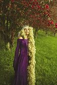 image of crap  - Young woman dressed as Rapunzel wearing purple velvet medieval costume with long - JPG