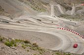 stock photo of andes  - Curvy road between Chile and Argentina  - JPG