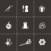 stock photo of tumblers  - Vector Sewing icon set on black background - JPG