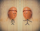 picture of human egg  - Vintage of two happy friend with painted egg - JPG