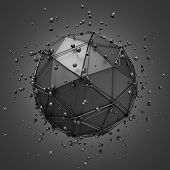 picture of sci-fi  - Abstract 3d rendering of low poly metal sphere with chaotic structure - JPG