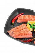 stock photo of salmon steak  - Fried salmon steak on pan - JPG