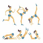 stock photo of yoga silhouette  - Vector yoga illustration - JPG